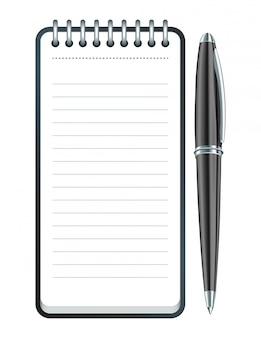 Black pen and notepad icon.  illustration