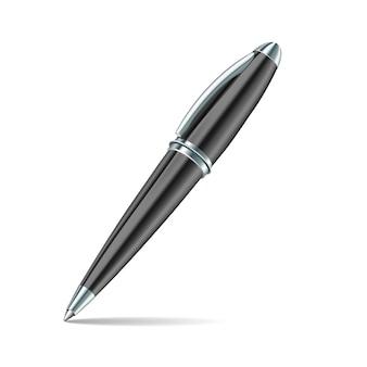 白の背景に黒のペン。図