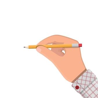 Черный карандаш с резиновым ластиком в руке. канцтовары. канцелярские. векторные иллюстрации, плоский карандаш