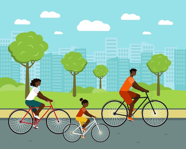 Black people ride city bike woman and man on bicycles african american family