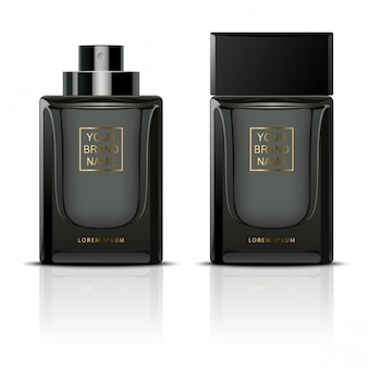Black perfume containers