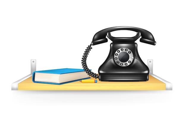 Черный телефон адресная книга карандашом на полке вызов иллюстрация
