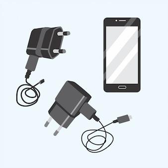 검은 전화 및 충전기 세트