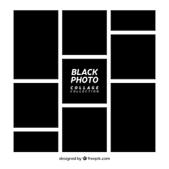 黒のフォトフレームコラージュコレクション