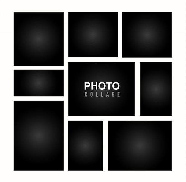 Black photo frame collage template