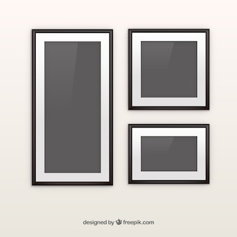 Black photo frame collage with flat design