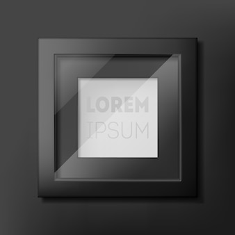 Black photo frame design on gray wall