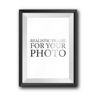 Black photo frame template isolated on white wall  .