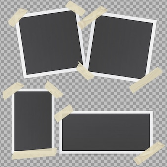 Black photo frames glued with transparent adhesive tape
