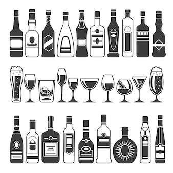 Black pictures of alcoholic bottles