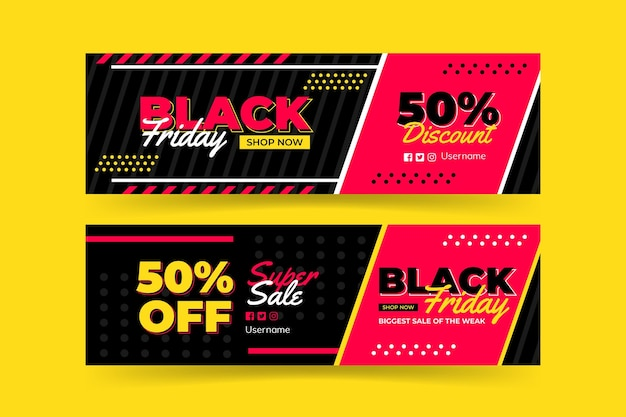 Black and pink black friday banner template