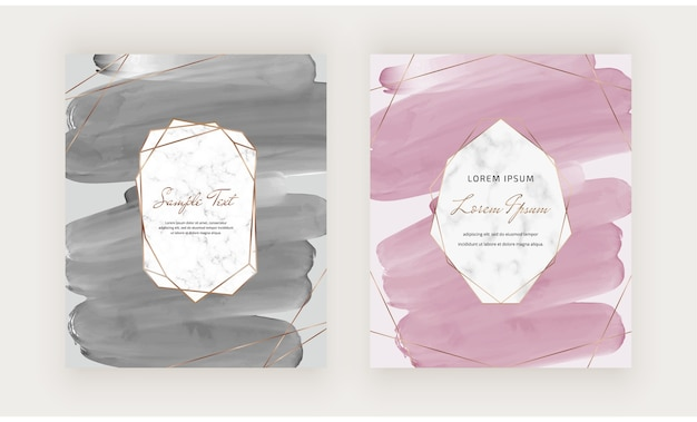 Black and pink brush stroke watercolor cards with geometric marble frames.