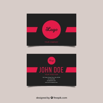 Black and pink business card template