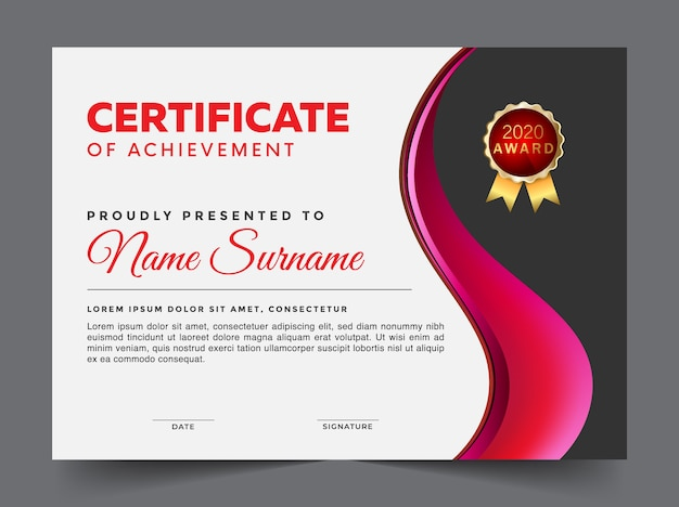 Black and pink certificate of achievement template