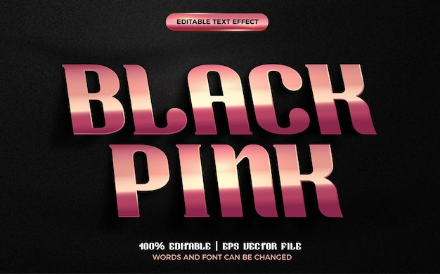 Black pink luxury rose gold plate 3d editable text effect