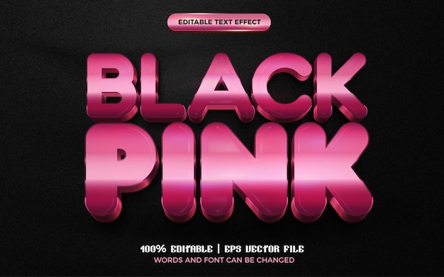 Black pink rose glossy 3d editable text effect style template