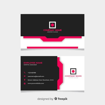 Black and pink visiting card
