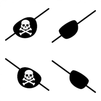 Black pirate eye bandage with a skull and crossbones for left and right eyes
