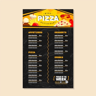 Black pizza menu template