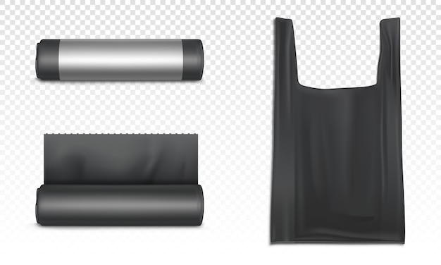 Black plastic bag for trash, garbage and rubbish. realistic of polyethylene sacks for refuse in roll and bag with handles for carrier isolated on transparent background