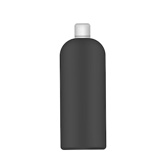 흰색 캡이 있는 검은색 플라스틱 병. 현실적인 병.