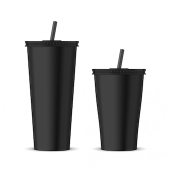 Black plastic disposable cup