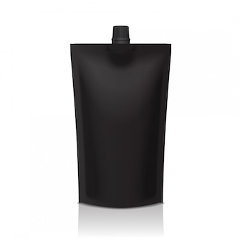 Black plastic doypack stand up pouch with spout. flexible packaging  for food or drink