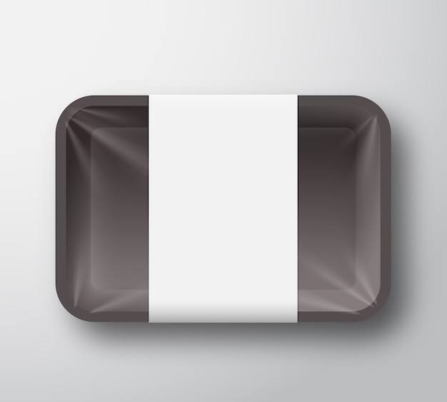 Black plastic food tray container with transparent cellophane cover and clear white label template.