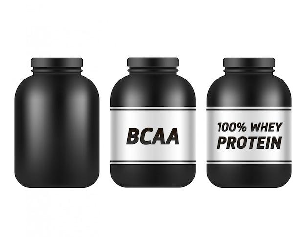 白で隔離される黒いプラスチック瓶テンプレート。 bcaaおよびタンパク質パッキング。スポーツ栄養とサプリメントセット。