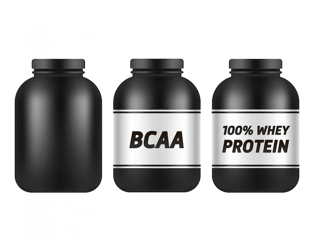 Black plastic jar template isolated on white . bcaa and protein packing . sports nutrition and supplements  set.