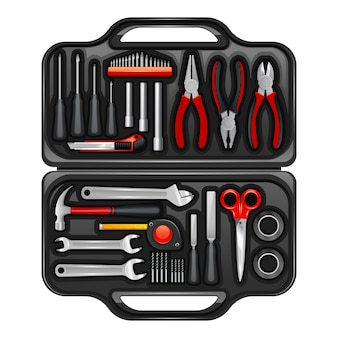 Black plastic toolkit box for keeping storage and carrying instruments and tools
