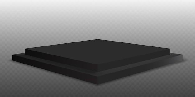 Black podium. pedestal platform or showroom stand. black studio stage platform