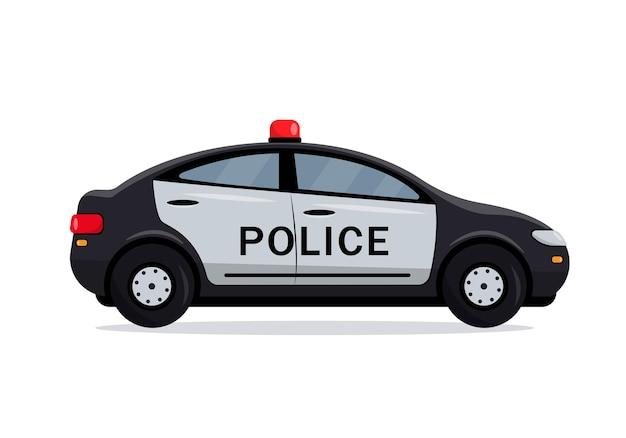 Вид сбоку черный полицейский автомобиль