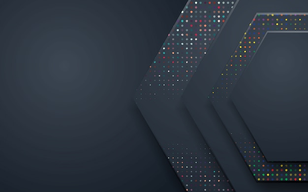 Black polygon abstract background with colorful glitters