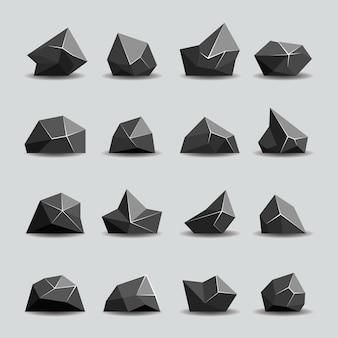 黒のポリゴンストーンとポリロック。幾何学的な結晶、多角形のオブジェクト、ベクトル図