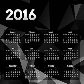 Black polygonal 2016 calendar
