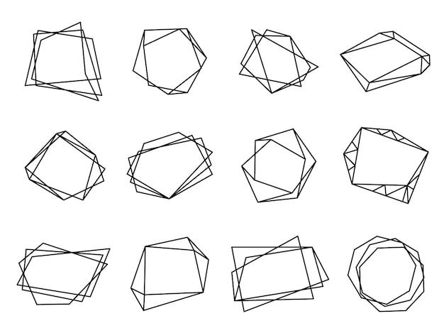Черные многоугольные рамки. форма многоугольника треугольника, кристалл геометрический модерн. дизайн карт годовщины свадьбы, векторный набор дизайна линии. геометрические украшения, графическая рамка свадебные элементы иллюстрации