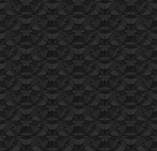 三角形の付いた黒い多角形のシームレスなパターン。押し出された表面効果を持つ暗い繰り返しの幾何学的なテクスチャー。背景壁紙インテリア繊維包装紙印刷のイラスト。