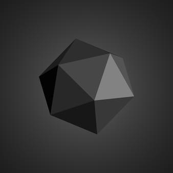Black polyhedron. geometrical shape.  .