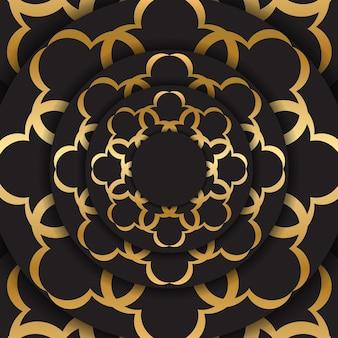 황금 인도 장식으로 검은 엽서