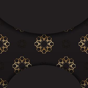 황금 인도 패턴으로 검은 엽서
