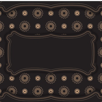 Black postcard with a luxurious brown ornament for your congratulations.