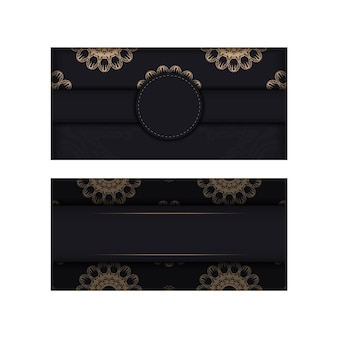 Black postcard with luxurious brown ornamentation is ready for printing.