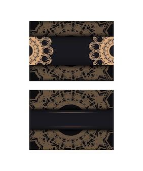 귀하의 브랜드를 위한 고급스러운 갈색 장식품이 있는 검은색 엽서.
