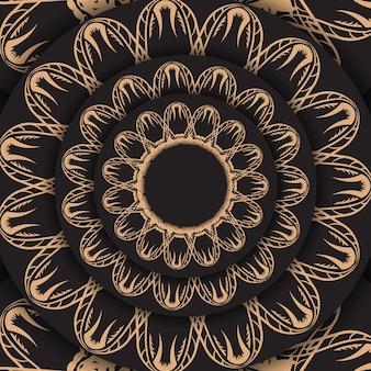 디자인을 위한 고급스러운 갈색 장식품이 있는 검은색 엽서.