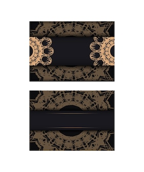 Black postcard with luxurious brown ornaments for your brand.