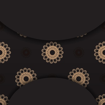 Black postcard with luxurious brown ornaments for your design.