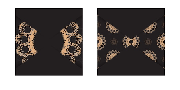 Black postcard with luxurious brown pattern for your design.