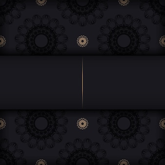 Black postcard with vintage ornament for your brand.