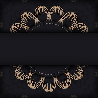 Black postcard with vintage ornament for your congratulations.